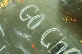 Chalk details of table top, varnished